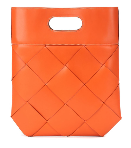 Bottega Veneta Slip leather tote in orange