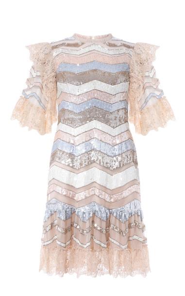 Needle & Thread Alaska Sequin Mini Dress Size: 6 in pink