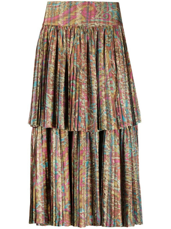 A.N.G.E.L.O. Vintage Cult 1990s abstract printed pleated skirt in pink