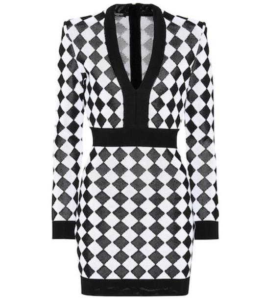 Balmain Jacquard knit dress in black