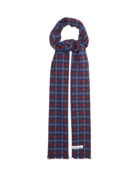 Acne Studios - Varney Checked Wool-blend Scarf - Womens - Blue Print