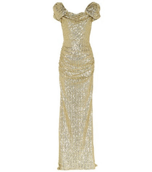 Dolce & Gabbana Sequined puff-sleeve gown in gold