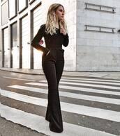 jumpsuit,black jumpsuit,classy,long sleeves,deep v,neck deep,flare pants