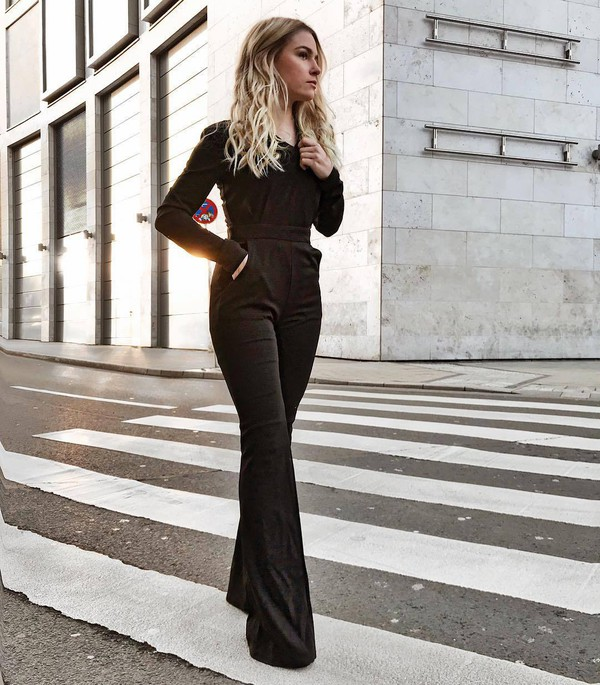 jumpsuit black jumpsuit classy long sleeves deep v neck deep flare pants