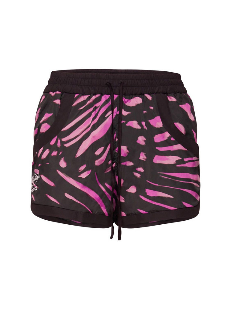 REDEMPTION Athletix Print Tech Shorts in black / fuchsia
