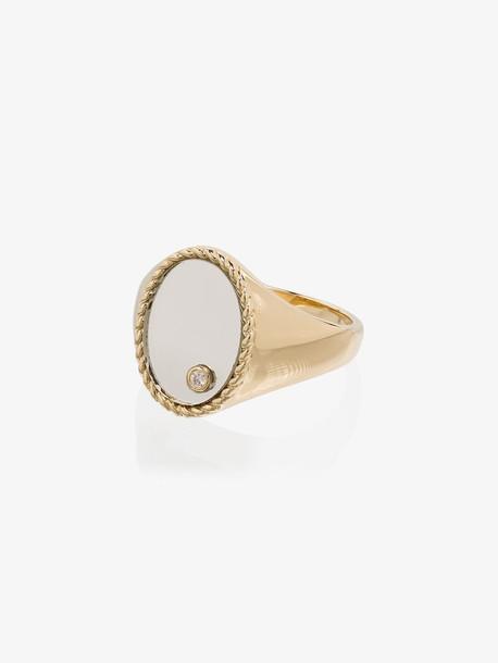 Yvonne Léon 9K yellow gold mirror diamond signet ring