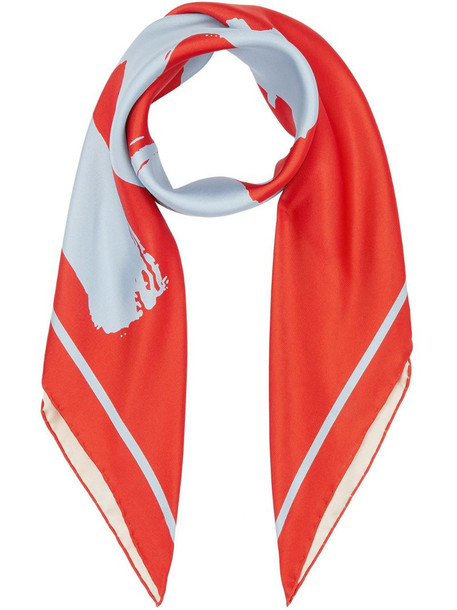 Burberry love-print scarf in red