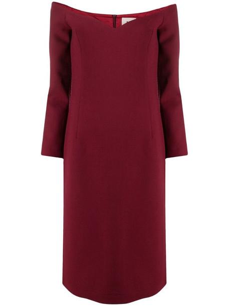 L'Autre Chose off-shoulder dress in red