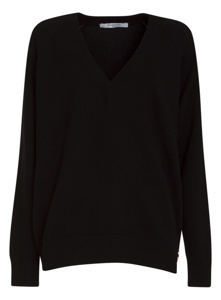 Givenchy V Neck Zipped Sweater In Wool And Cashmere in nero