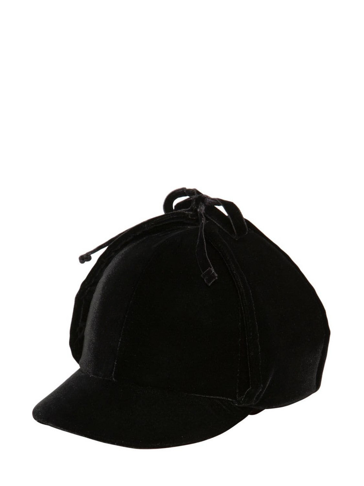 MIU MIU Cotton Velvet Hat W/ Ear Flaps in black