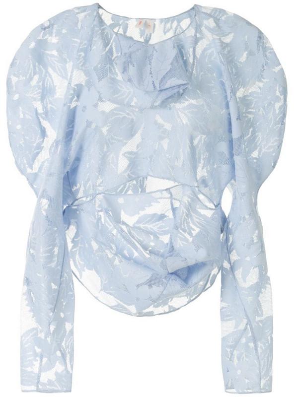 yuhan wang draped leaf-motif mesh top in blue