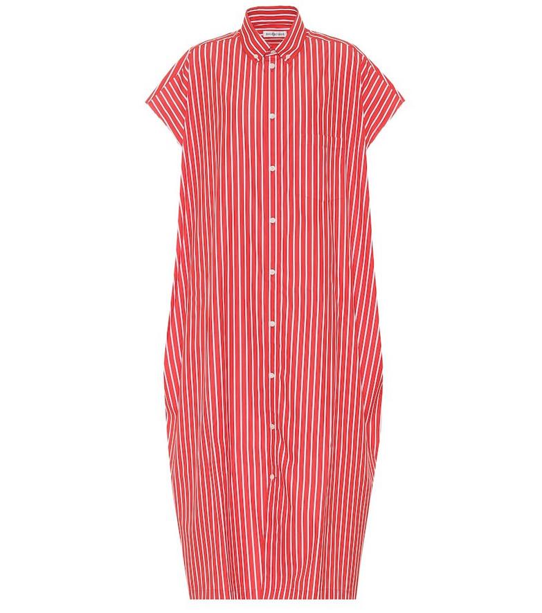 Balenciaga Striped cotton shirt dress in red