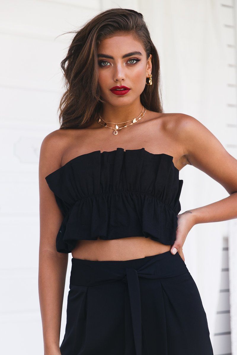 top crop tops black dressy party