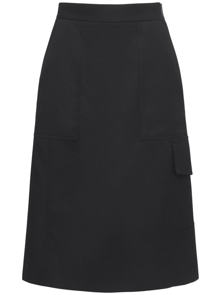 MONCLER Technical Gabardine Midi Skirt in black
