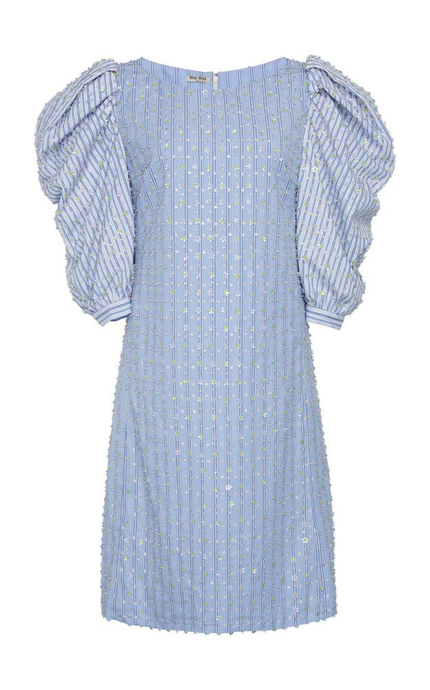 Miu Miu Embellished Puff Sleeve Dress in blue