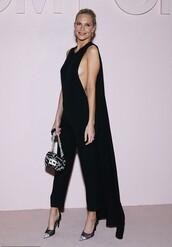 jumpsuit,poppy delevingne,model off-duty,all black everything,pants,cape,top,celebrity