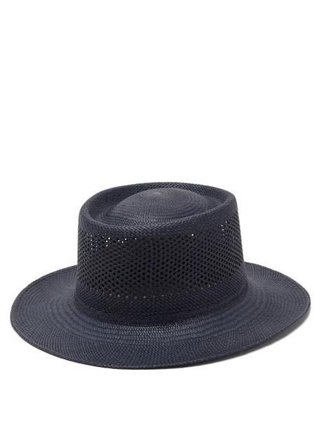 Greenpacha - Cuba Pointelle Toquilla Straw Hat - Womens - Navy
