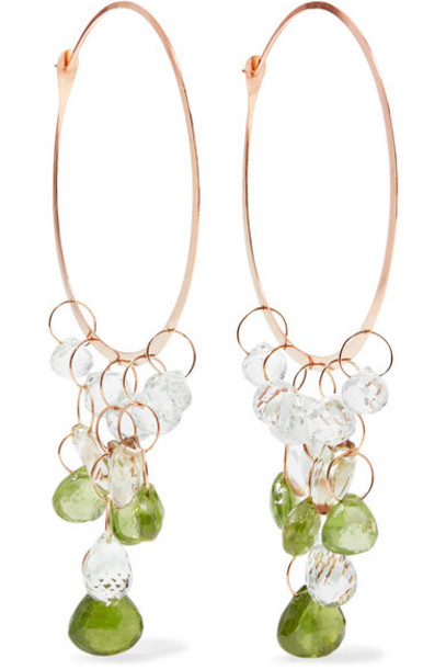 Melissa Joy Manning - 14-karat Rose Gold Garnet Hoop Earrings