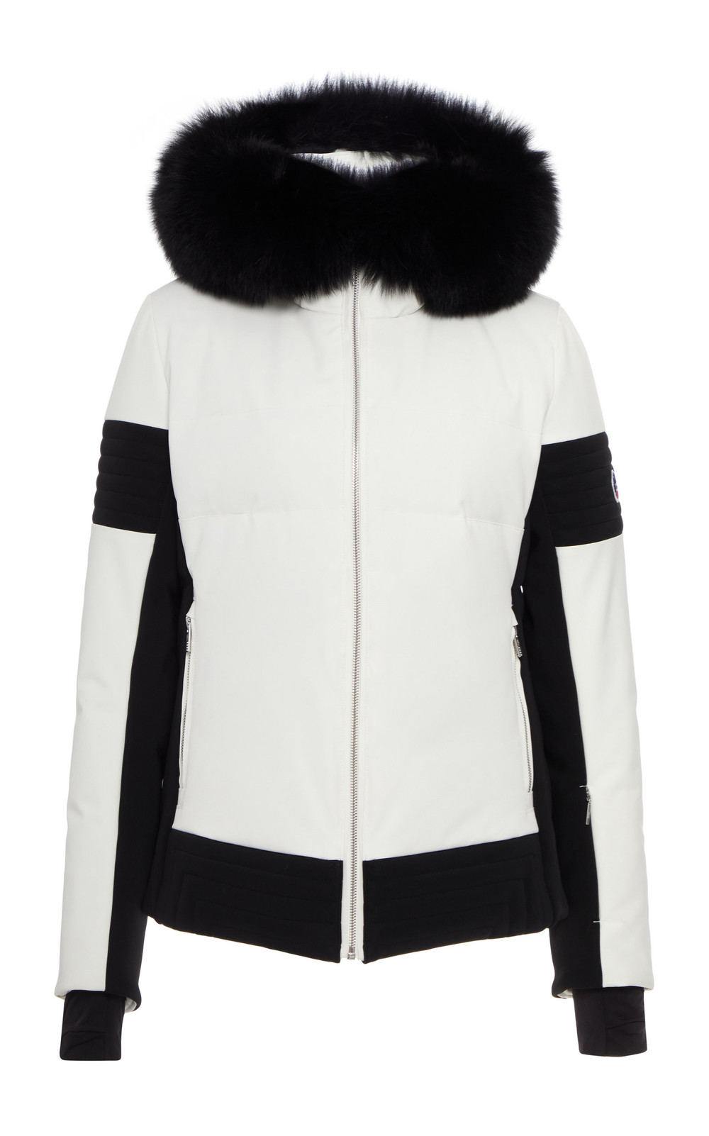 Fusalp Fur-Trimmed Two-Tone Shell Down Coat Size: 34 in white