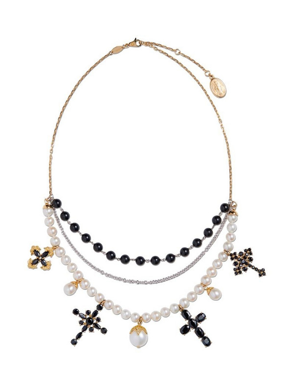 Dolce & Gabbana 18kt gold sapphire pearl Family necklace