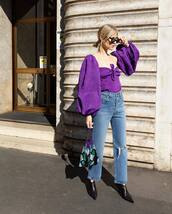 bag,handbag,sequins,black shoes,high waisted jeans,ripped jeans,straight jeans,purple,puffed sleeves,blouse