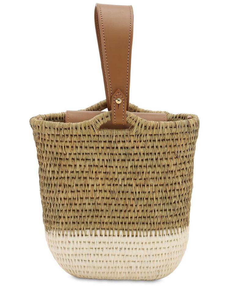 KHOKHO Zandi Raffia Bucket Bag in natural / white