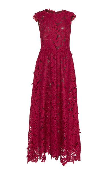 J. Mendel Sleeveless Guipure Lace Midi Dress in pink