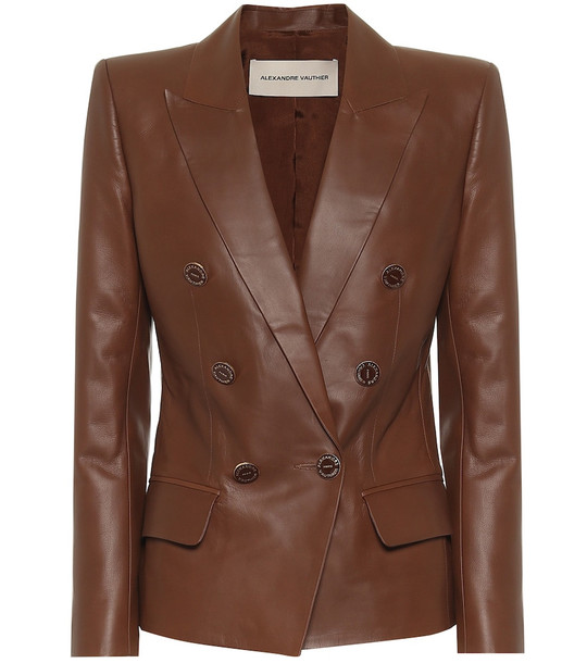 Alexandre Vauthier Double-breasted leather blazer in brown
