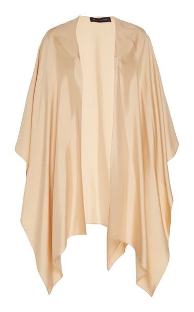Sally LaPointe Oversized Draped Silk Cape in neutral