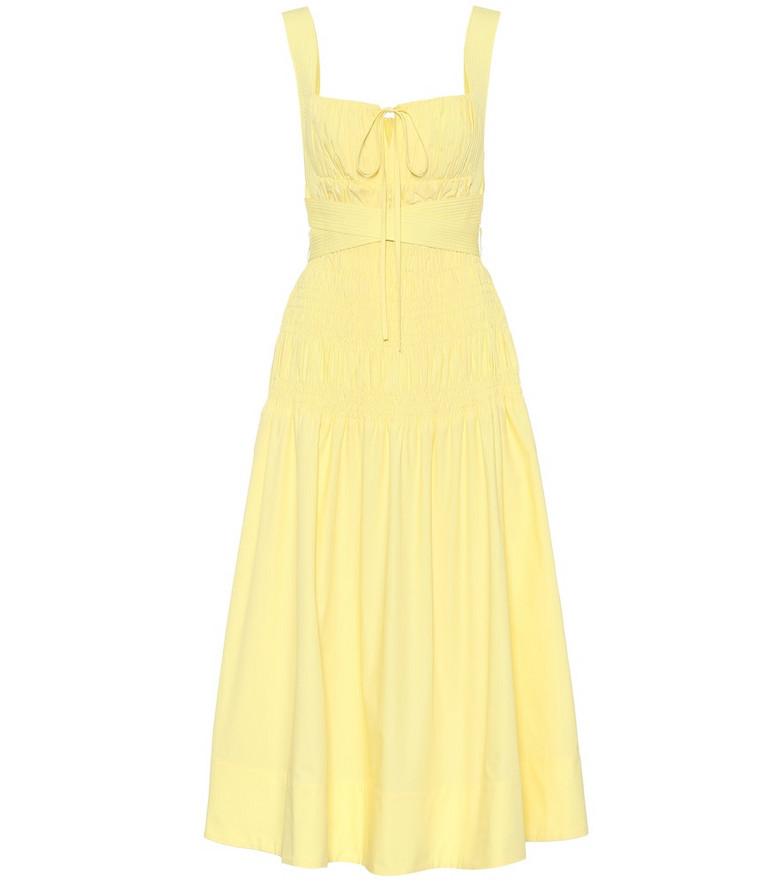 Self-Portrait Cotton midi dress in yellow