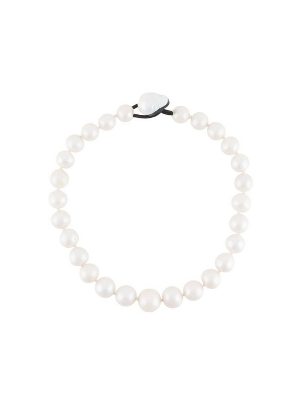 Monies pearl embellished necklace in white