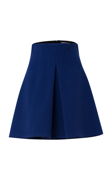 Dorothee Schumacher Advanced Sharpness Pleated Wool Skirt Size: 1 in blue