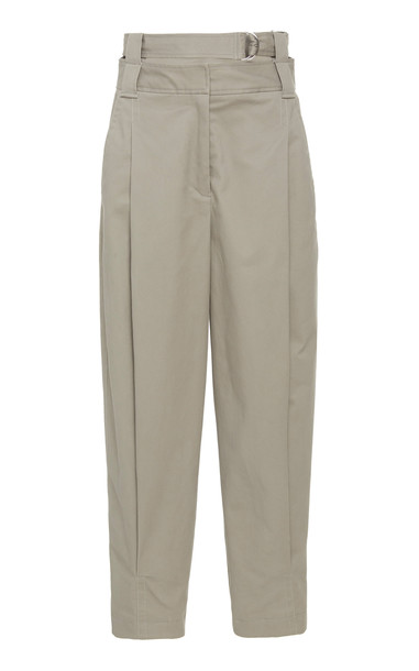 Tibi Myriam Twill Double Waisted Sculpted Pant in neutral