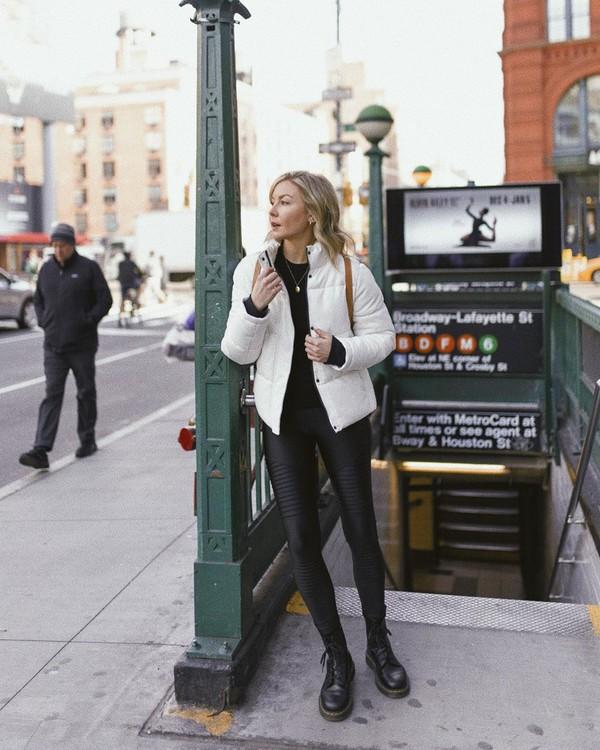 jacket white jacket puffer jacket black leather pants black boots black sweater