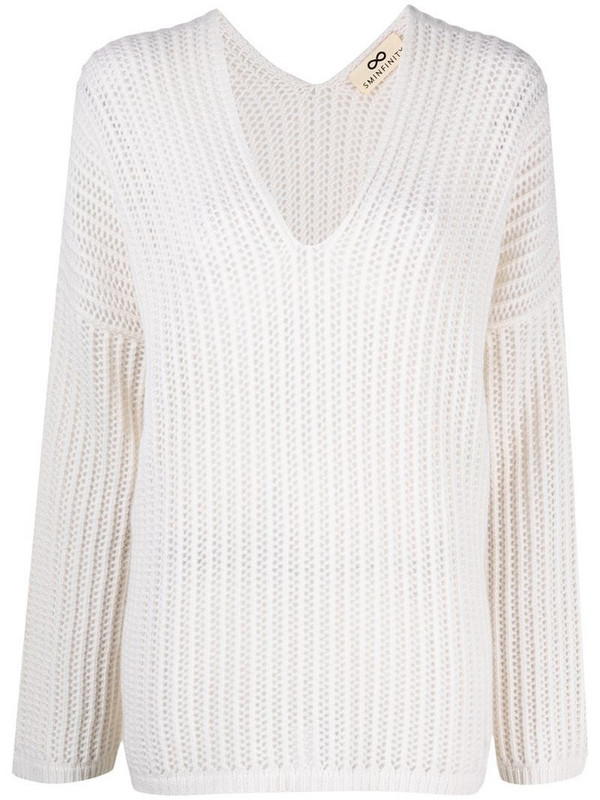 Sminfinity chunky-knit cashmere jumper in white