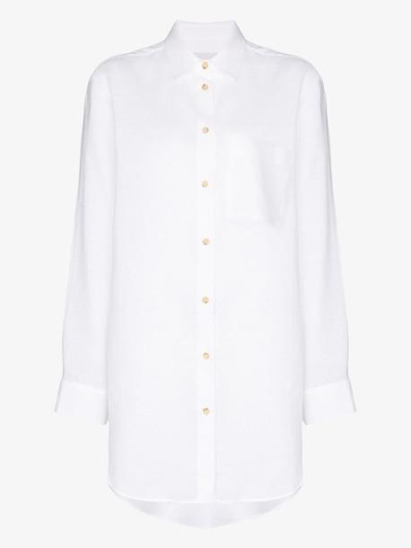 Asceno oversized linen shirt in white