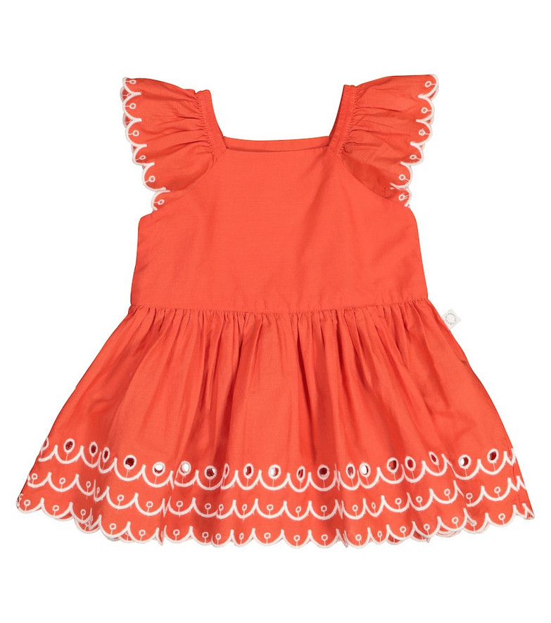 Stella McCartney Kids Baby cotton dress and bloomers in orange
