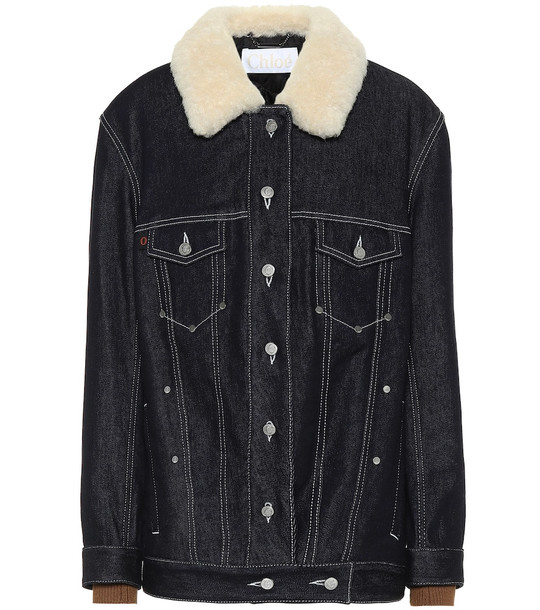 Chloé Shearling-trimmed denim jacket in blue
