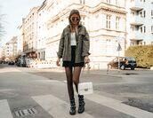 bag,white bag,black boots,tights,denim jacket,black skirt,white t-shirt