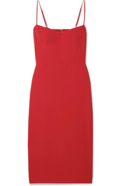 Reformation - Isabel Shirred Crepe Dress in red