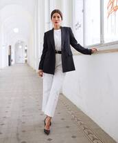 jacket,blazer,max mara,navy,double breasted,pumps,white pants,straight pants,high waisted pants,white blouse,belt,fendi