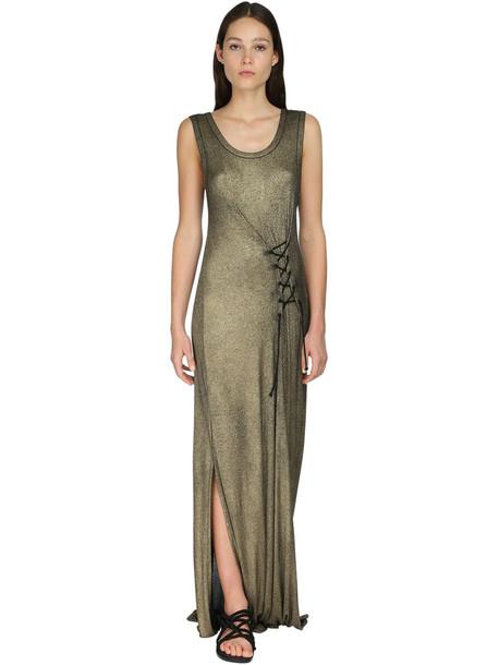 ANN DEMEULEMEESTER Lurex Rib Knit Dress in gold
