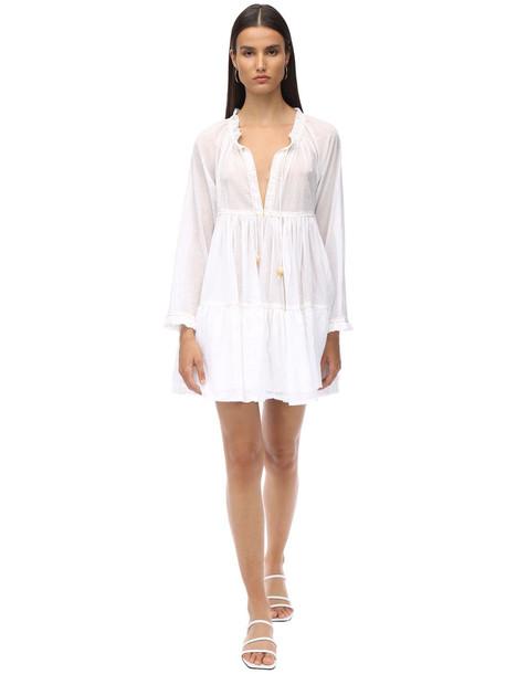YVONNE S Cotton Voile Mini Dress in white