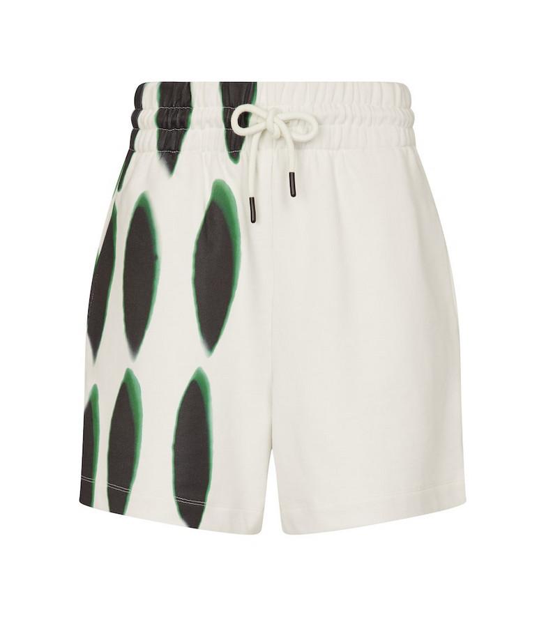 Dries Van Noten Printed cotton jersey shorts in white