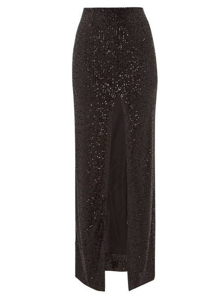 Galvan - Modern Love Front-slit Sequinned Maxi Skirt - Womens - Black