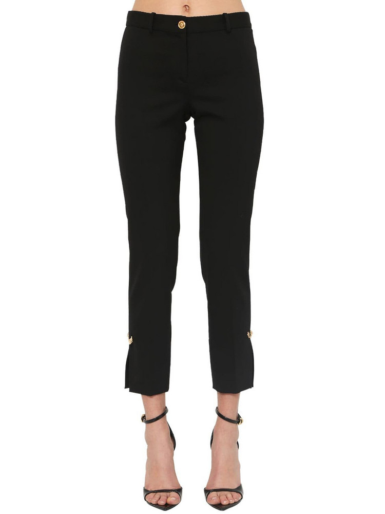 VERSACE Tailored Gabardine Pants W/ Pins in black