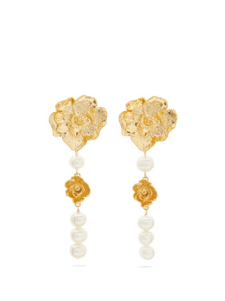Elise Tsikis - Gismona Pearl & 18kt Gold-plated Earrings - Womens - Gold