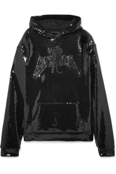 Dundas - Sequined Cotton-jersey Hoodie - Black