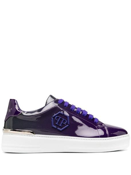 Philipp Plein Hexagon-logo low-top sneakers in grey / violet