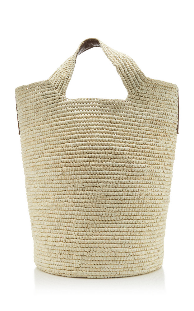 Sensi Studio Tall Straw Tote Bag in brown